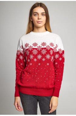 Женский вязаный свитер Снежинки красный