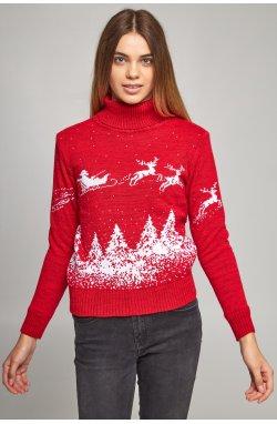 Женский вязаный гольф Дед Мороз с оленями красный