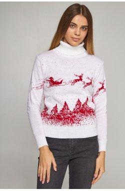 Женский вязаный гольф Дед Мороз с оленями белый