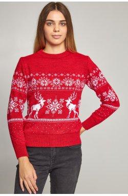 Женский вязаный свитер Снежинки с оленями красный