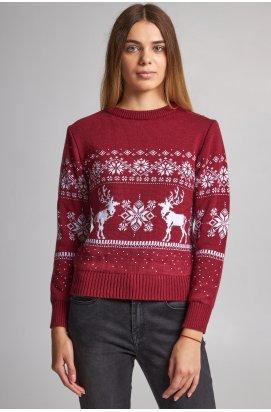 Женский вязаный свитер Снежинки с оленями бордовый