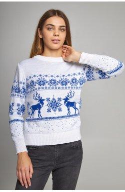 Женский вязаный свитер Снежинки с оленями