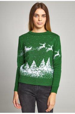 Женский вязаный свитер Дед Мороз с оленями зеленый