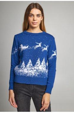 Женский вязаный свитер Дед Мороз с оленями синий