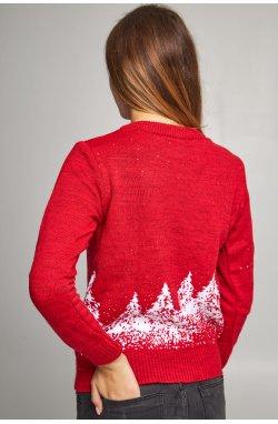 Женский вязаный свитер Дед Мороз с оленями красный