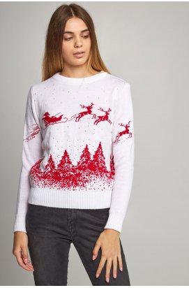 Жіночий в'язаний светр Дід Мороз з оленями білий