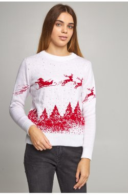 Женский вязаный свитер Дед Мороз с оленями белый