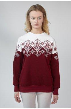 Рождественский женский свитшот снежинка Burgundy