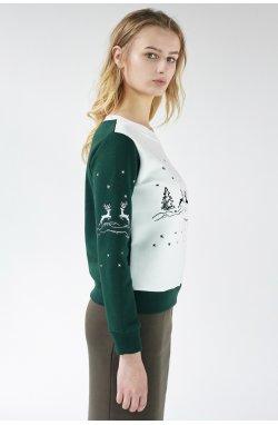 Рождественский женский свитшот с Оленями Green