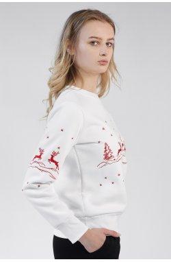 Рождественский женский свитшот с Оленями White