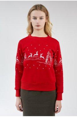 Різдвяний жіночий світшоти Олені Red