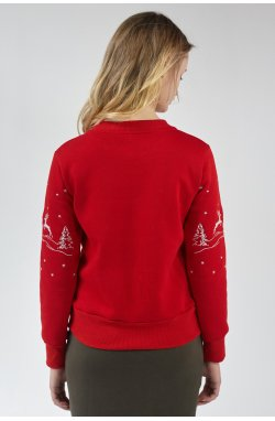 Рождественский женский свитшот Олени Red
