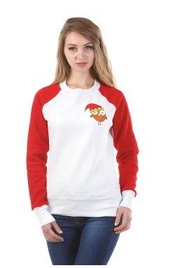 Женский вышитый свитшот с красным рукавом Сова
