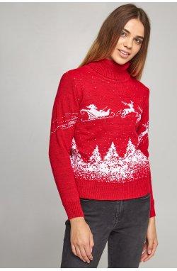 Новогодние вязаные гольфы для двоих Дед мороз с оленями красный