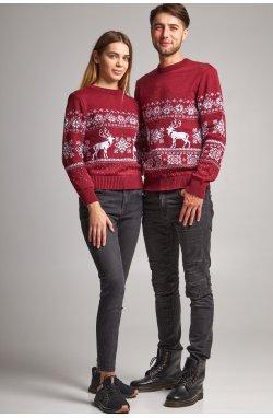 Новогодние свитера для двоих Дед мороз с оленями бордовый