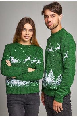 Новорічні светри для двох Дід мороз з оленями зелений