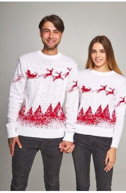 Новогодние свитера для двоих Дед мороз с оленями белый