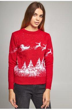 Новогодние свитера для двоих Дед мороз с оленями красный