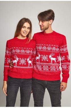 Новогодние свитера для двоих снежинка с оленями красный