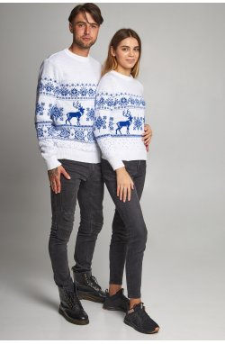 Новогодние свитера для двоих снежинка с оленями