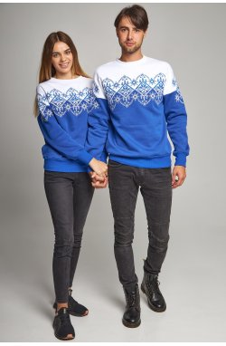 Новогодние свитера для двоих снежинка синие