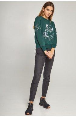 Новогодние свитера для двоих с Дедом морозом зеленые