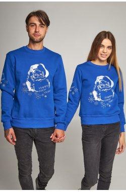 Новогодние свитера для двоих с Дедом морозом синие