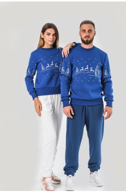 Новогодние свитера для двоих с оленями электрик