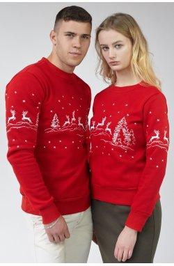 Новогодние свитшоты для двоих с Оленями Red