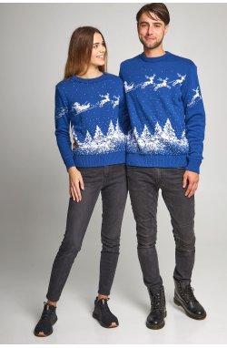 Семейные вязаные рождественские свитера Дед мороз с оленями синий