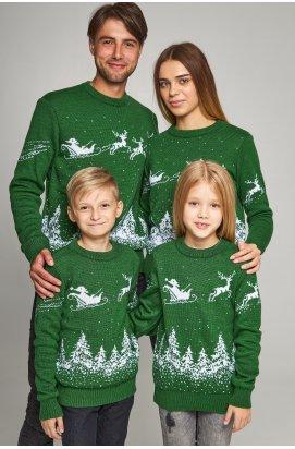 Семейные вязаные рождественские свитера Дед мороз с оленями зеленый