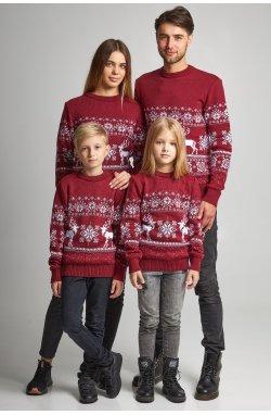 Семейные вязаные рождественские свитера Снежинки с оленями бордовый