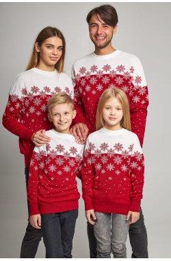 Семейные вязаные рождественские свитера Снежинки красный