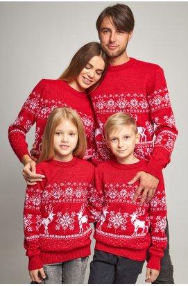 Семейные вязаные рождественские свитера Снежинки с оленями красный