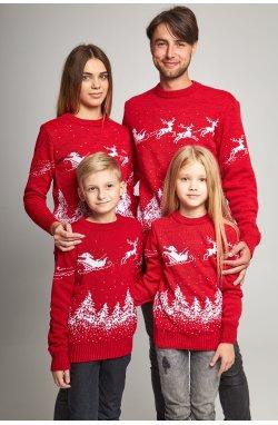 Семейные вязаные рождественские свитера с Дедом морозом красный
