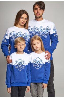 Семейные рождественские свитшоты Снежинки синие