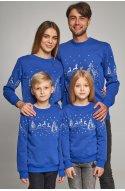 Семейные рождественские свитшоты с Оленями синие