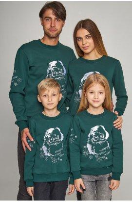 Сімейні різдвяні світшоти з Дідом морозом зелені