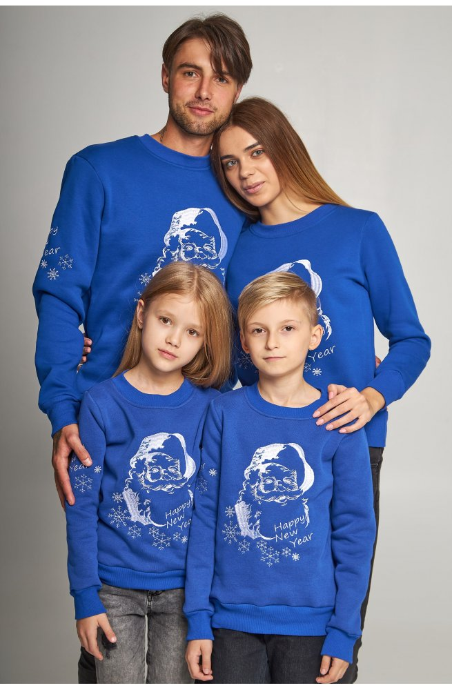 Семейные рождественские свитшоты с Дедом морозом синие