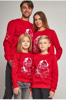 Сімейні різдвяні світшоти з Дідом морозом червоні