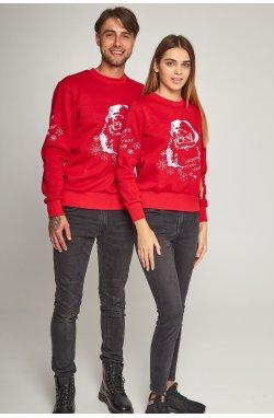 Семейные рождественские свитшоты с Дедом морозом красные