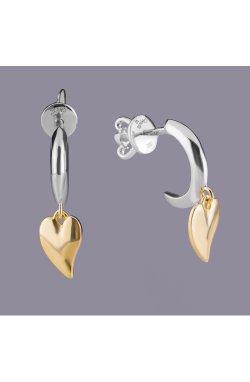 Серебряные серьги пусеты когти с сердечком из родированного серебра 925-й пробы ( 23 )