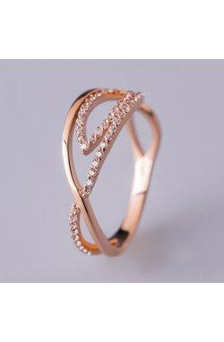 Золотое кольцо с россыпью камней розовое золото 15 из красного золота 585-й пробы с куб. циркониями (1 2 3)