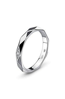 Граненое кольцо с фианитами белое золото из белого золота 585-й пробы с куб. циркониями (12 614)