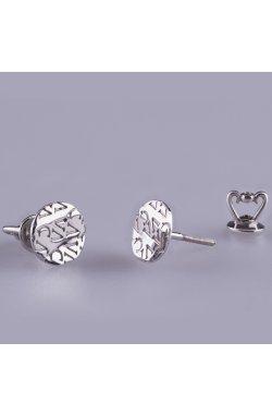 Серебряные серьги пуссеты с логотипом из родированного серебра 925-й пробы ( 2 3 )