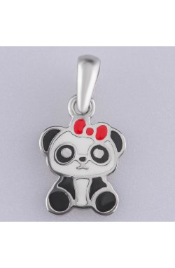 Серебряный кулон панда с эмалью из родированного серебра 925-й пробы с эмалью (38 )