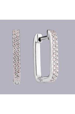 Классические серьги дорожки с камнями серебро из родированного серебра 925-й пробы с куб. циркониями ( 25 )