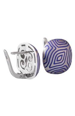 Серебряные серьги геометрия синевы из родированного серебра 925-й пробы с полимером (282 52 3)