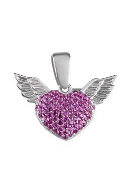 Серебряная подвеска с крыльями из родированного серебра 925-й пробы с куб. циркониями (3 6 )