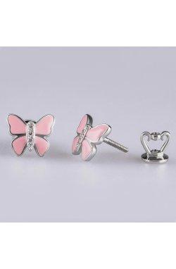 Серьги розовая бабочка серебро из родированного серебра 925-й пробы с куб. циркониями ( 80 )